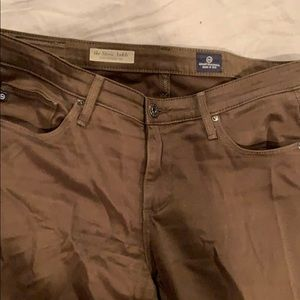 Brown/dark green skinny ankle pants